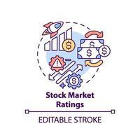 ícone do conceito de avaliações do mercado de ações vetor