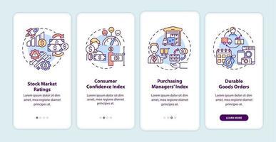 indicadores de recuperação econômica integrando a tela da página do aplicativo móvel com conceitos