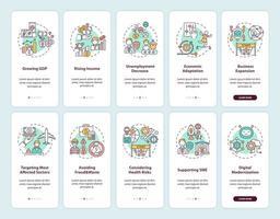 tela de página de integração de aplicativo móvel de recuperação econômica com conjunto de conceitos