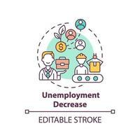 ícone do conceito de diminuição do desemprego vetor