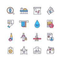 Conjunto de ícones de cores de regulamentos de segurança de aeroporto