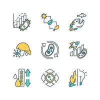 conjunto de ícones de cores de processos biológicos