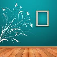 Interior da sala com decalque decorativo da parede vetor