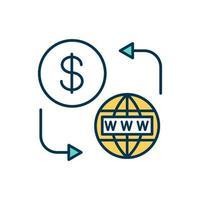 ícone de cor de acesso à internet pré-pago