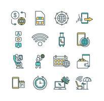 conjunto de ícones de cores de roaming vetor