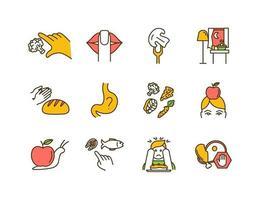 conjunto de ícones de cores de nutrição consciente vetor