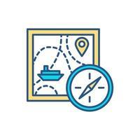 ícone de cor de viagem marítima vetor