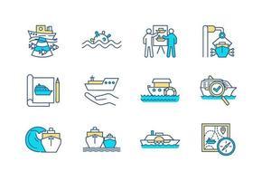 conjunto de ícones de cores de engenharia marinha vetor