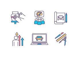 conjunto de ícones de cores de processos criativos