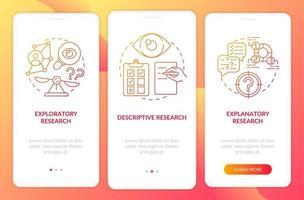tipos de pesquisa científica integrando a tela da página do aplicativo móvel com conceitos