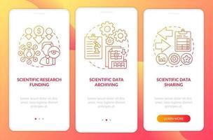 componentes de pesquisa científica integrando a tela da página do aplicativo móvel com conceitos vetor