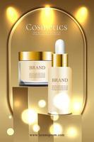 Pôster de promoção de produto cosmético de luxo dourado com pódio e pacote 3D vetor