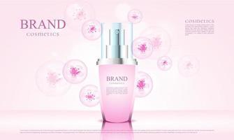 Flor de cosméticos de luxo com embalagem 3D e ilustração de flor rosa vetor