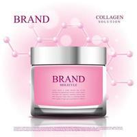 frasco cosmético para reduzir o envelhecimento com molécula e embalagem 3d vetor