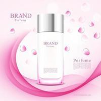 frascos de perfume de pétalas de rosa rosa em fundo abstrato vetor