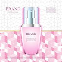 fundo rosa para ilustração de publicidade de cosméticos vetor