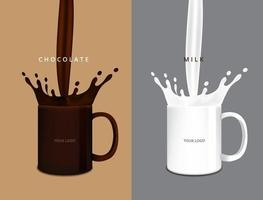 salpique chocolate e leite no copo ilustração vetorial vetor