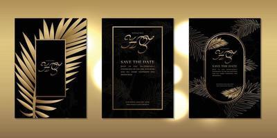 cartão de convite de casamento luxuoso decorado com folhas douradas e um lindo modelo de moldura vetor