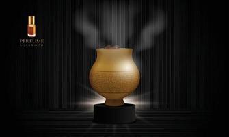 frasco de agarwood em um pódio preto e fundo de madeira escura com espaço de cópia vetor