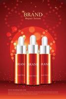 fundo vermelho para pôster de cosméticos anti-rugas com ilustração de embalagem 3D vetor
