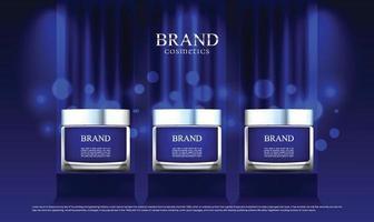 um anúncio de cosmético colocado em um estande e um pano azul como a cena principal com iluminação vetor