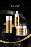 Suporte de mármore preto para exposição de produtos cosméticos com fita dourada vetor