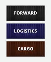 conceito de logística de banner com contêineres vetor