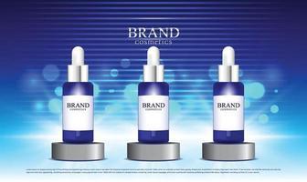 fundo de iluminação azul para produtos cosméticos no estande vetor