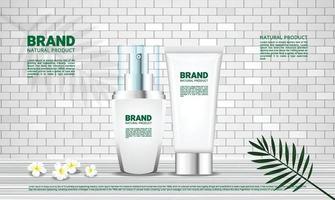 fundo para produtos cosméticos com parede de tijolos e piso de madeira conceito natural vetor