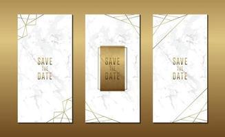 cartão de convite de casamento minimalista com mármore e modelo de linha geométrica vetor