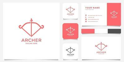 Logotipo de arco e flecha vermelho simples e minimalista com modelo de cartão de visita vetor