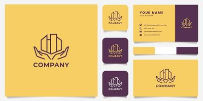 mãos de arte de linha simples e minimalistas e logotipo de construção com modelo de cartão de visita vetor