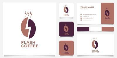 Espaço negativo simples e minimalista flash no logotipo do grão de café com modelo de cartão de visita vetor