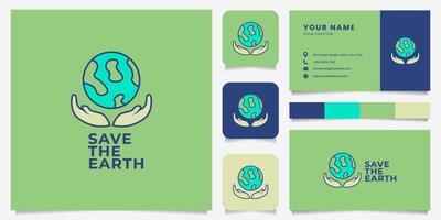 mãos coloridas e logotipo da terra com modelo de cartão de visita vetor