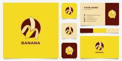 Logotipo colorido do emblema da banana descascada com modelo de cartão de visita vetor