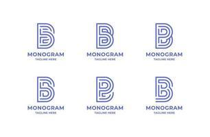 Conjunto de logotipo simples e minimalista de linha de arte letra b vetor