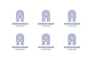 letra de arte de linha simples e minimalista um conjunto de logotipo vetor