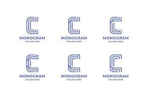 Conjunto de logotipo simples e minimalista da letra c da arte de linha vetor