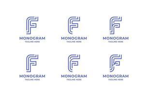Conjunto de logotipo simples e minimalista de linha de arte letra f vetor