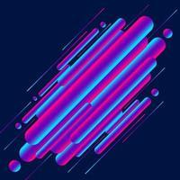 estilo moderno abstrato 3d cores vibrantes arredondadas formas de linhas diagonais sobre fundo azul. vetor