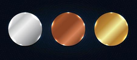 conjunto de etiqueta ou emblemas abstratos de círculo metálico brilhante de cobre, prata e ouro com elementos de partículas em fundo azul escuro vetor