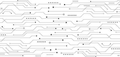 placa de circuito de linha preta padrão abstrato no conceito de tecnologia de fundo branco vetor