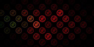pano de fundo vector verde e vermelho escuro com símbolos de vírus.