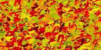 layout de vetor verde e vermelho claro com linhas, triângulos.