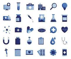 conjunto de ícones de estilo plano médico e científico design de vetor