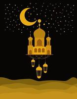 Templo de ouro eid mubarak com lanternas de cabide de lua e desenho vetorial de estrelas vetor