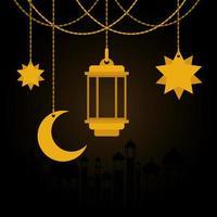 eid mubarak ouro cabide lanterna lua e estrelas desenho vetorial vetor