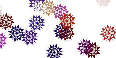 textura leve vetor multicolor com flocos de neve brilhantes.