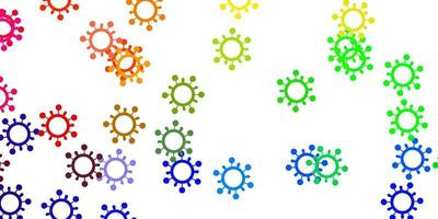 luz padrão multicolorido de vetor com elementos de coronavírus.