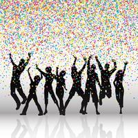 Festa de pessoas em fundo de confete vetor